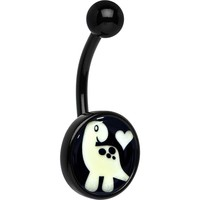 Black Glow in the Dark Cute Dinosaur Belly Ring