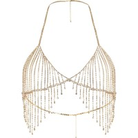 Gold tone diamante embellished bralet - Body Jewellery & Harnesses - Jewellery - women