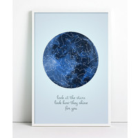 Astronomy Poster, Moon, Constellation Print night Sky Vintage Astronomy Constellation Map Stars Inspirational Print Galaxy Geeky Art Print