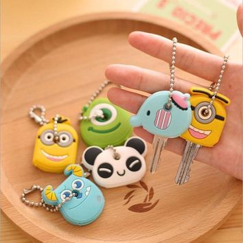 KeyChain Cartoon Animal Silicone Cute Minion Owl Key Cover Cap Keychains Women Chain Ring Holder Gifts Key Chain Pendant Jewelry