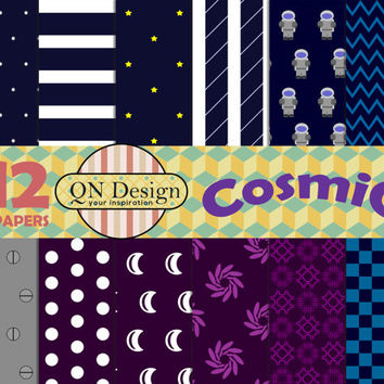 Cosmic Digital Paper Pack, Scrapbook Paper Pack, Instant Download, 12 Digital Papers, For Personal Or Commercial Use