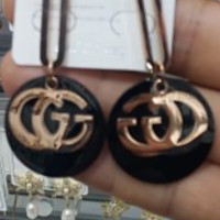 Free shipping-GUCCI Double G Exaggerated Fashion Wild Glossy Earrings