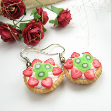 Strawberry Kiwi Tart Earrings