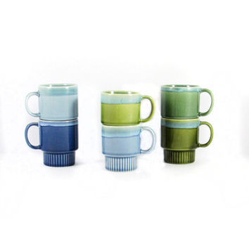 Vintage, Blue, Green, Aqua, Hunter, Drip Glaze Coffee, Tea Cups, Set of Six