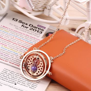 GENBOLI Multicolor Choose Cool Fashion Magic Time Turner Necklace Rotating Spins Hourglass Pendant Necklace