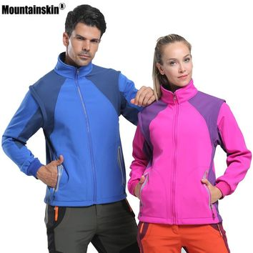 Mountainskin Men Women Softshell Fleece Jacket Outdoor Sports Windbreaker Removable Vest Hiking Camping Fishing Brand Coat VA276