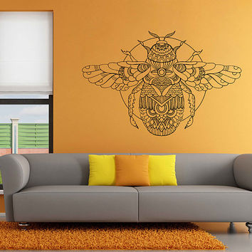 kik3162 Wall Decal Sticker Zentangle Style Scarab beetle Egyptian living room Bedroom