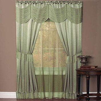 Ben&Jonah Collection Halley 6 Piece Window Curtain Set - 56x84 - Sage