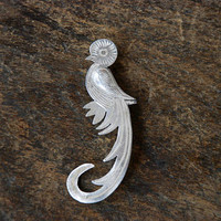 Vintage 900 Silver Quetzal Brooch Guatemala Bird Intricate Stampings Etched Figural Mid Century 1950's // Vintage Silver Jewelry