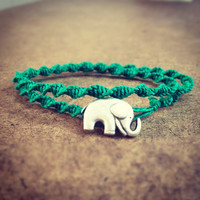 Double Wrap Swirled Hemp Bracelet - Teal Elephant
