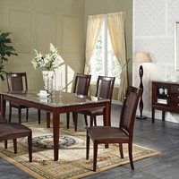 7 pc Camelot collection espresso finish wood and black marble top dining table set