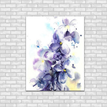 Lilac Flowers Watercolor Painting Art Print, Modern Watercolour Wall Art