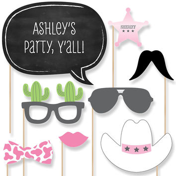 Baby Shower Photo Booth Props Kit - Little Cowgirl