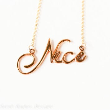VALENTINES DAY SALE Nice handwriting 10k gold plated necklace