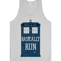 Basically Run (Tardis)-Unisex Silver Tank