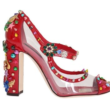 Red Transparent Crystal Studded Shoes