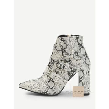Pointed Snakeskin Buckle Boots