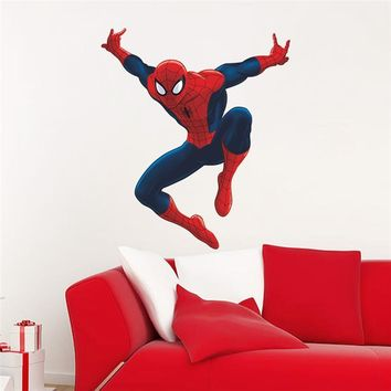 Spider Man Super Heros Wall Stickers Kids Room Decor Avengers Diy Home Decals Movie Mural Art