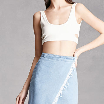 Frayed Wrap Denim Mini Skirt