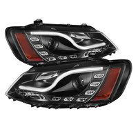 Volkswagen Jetta 11-13 Projector Headlights - Halogen Model Only  Light Tube DRL - Black - High H1 (Included) - Low H7 (Included) -y