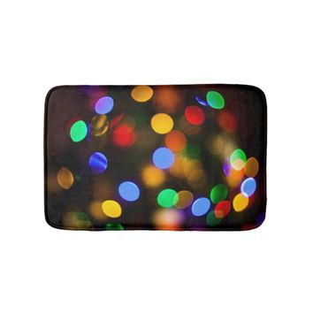 Multicolored Christmas lights. Bath Mat