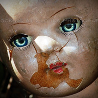 doll head - broken doll - blue eyes - fine art photo - - vintage doll - beautiful face - not really a creepy doll - IVY