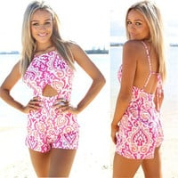 pink by pink summer Jumpsuit short print dress v neck style = 4769221956