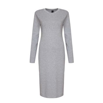 Women Maxi Grey Long Sleeve Skinny Back Split Body con Dresses stretchy Round Neck Formal Elegant Cotton stretchable dress