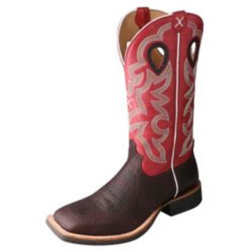 Twisted X Mens Ruff Stock Square Toe Red Boots