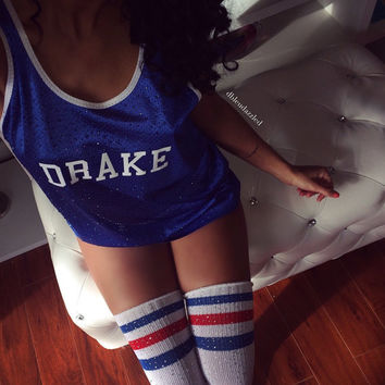 "Blue Crystallized ""DRAKE"" athletic mesh tank"