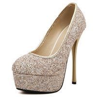 Autumn High Heel Waterproof Sexy Club Gold Shoes [6044951041]