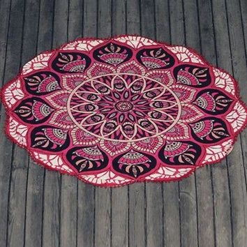 DCCKLW8 2017  Summer Chiffon Round Beach Towel Large Indian Mandala Tapestry Tablecloth Cover Up Cheap Beach Towels Outdoor New