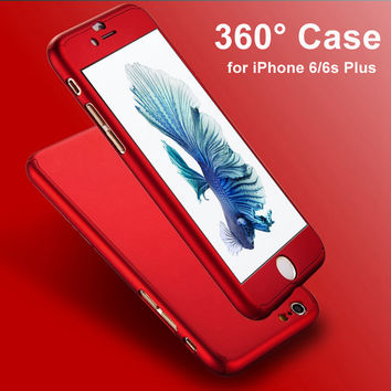 Ultra Thin 360 Case+ 9H Tempered Glass Screen Protector for Capinhas iPhone 6 7 6S 7 Plus Phone Case Full Body Cover Fundas Capa