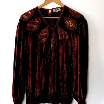 Gorgeous brown velvet top / metallic / gold / tunic top / kaftan / long sleeve top / boho / 70s / glossy / autumn / leaf / embroidered top