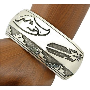 1960's - 1970's Navajo Signed Bracelet Heavy Hand Stamped .925 Silver Cuff