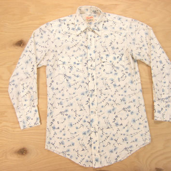 1970s Frontier Floral Print Western Shirt Vintage Retro Off White Pearl Snap Country Cowboy Ranch Small S