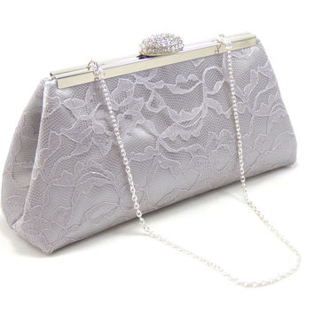 Silver, Platinum Grey Lace and Silver Paisley Bridal Clutch