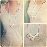 CROCHET Chevron Tribal Ombre Necklace in PASTEL by raysofcrochet