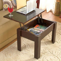 Brown Lift-Top Coffee Table W/Storage Computer Desk End Table TV Tray Furniture