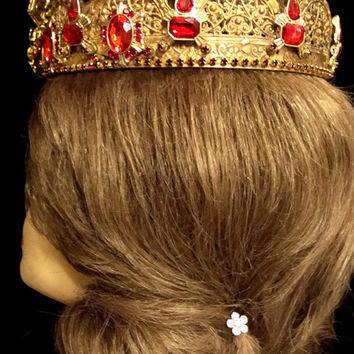 Renaissance Bride/Queen Full Size Crown wi/Vintage Brass Filigree Base Red/Clear and Black Jewels Statue Crown/ Santos Doll
