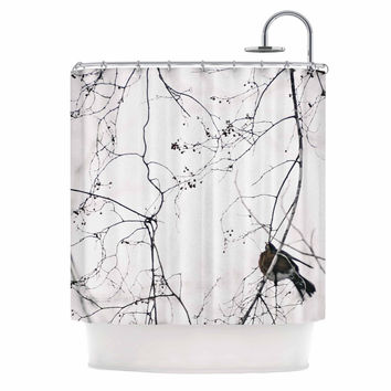 "Qing Ji ""Vintage Bird At Dusk"" Black White Shower Curtain"