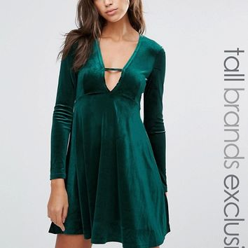 Glamorous Tall Long Sleeve Crinkled Velvet Skater Dress With Plunge Neck Detail at asos.com