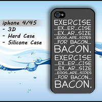 Funny Fun Bacon iphone 4 Case iphone 4s Fun Funny iphone4 4s Casing Hard Case Silicone 3D