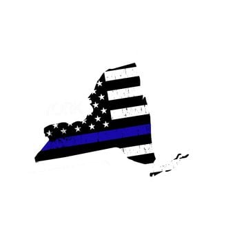 New York Distressed Subdued US Flag Thin Blue Line/Thin Red Line/Thin Green Line Sticker. Support Police/Firefighters/Military