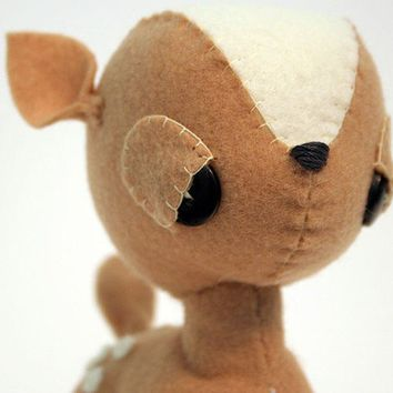 Tan Fawn Upcycled Plush Doll by WonderForest on Etsy