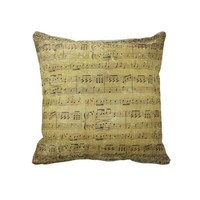 pillow with vintage sheet music design from Zazzle.com