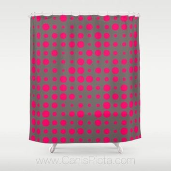 "Modern Hot Pink Dots Pattern Shower Curtain 71""x74"" Decorative Bath Tub Room Bathroom Interior Decor Geometric Grey Neon Contemporary Bright"
