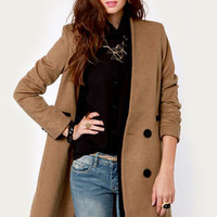 Peekaboo Chic Mid-Length Brown Coat