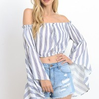 Jess Striped Bell Sleeve Crop Top