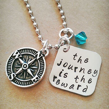 """Hand Stamped """"The Journey is the Reward"""" Necklace"""